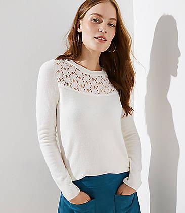 로프트 LOFT Lace Yoke Sweater