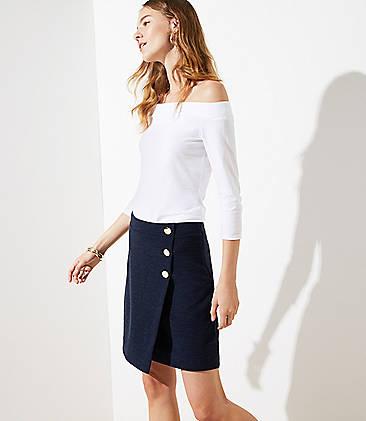 로프트 LOFT Button Wrap Skirt,Mood Indigo