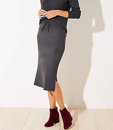 로프트 LOFT Ribbed Drawstring Midi Sweater Skirt,Charcoal