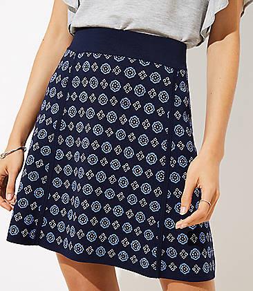 로프트 LOFT Mosaic Sweater Flippy Skirt,Forever Navy