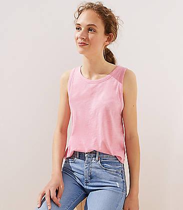 로프트 LOFT Vintage Soft Shirttail Tank,Darling Pink