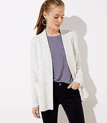 로프트 LOFT Speckled Open Pocket Cardigan,Snow Speckle