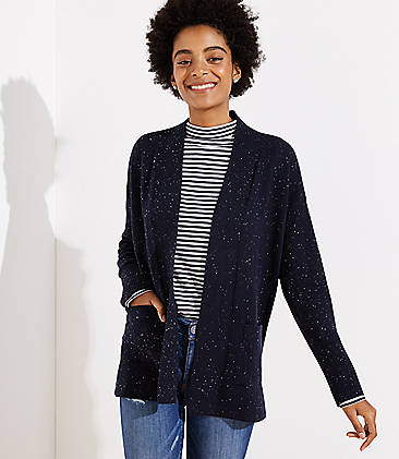 로프트 LOFT Speckled Open Pocket Cardigan,Forever Navy