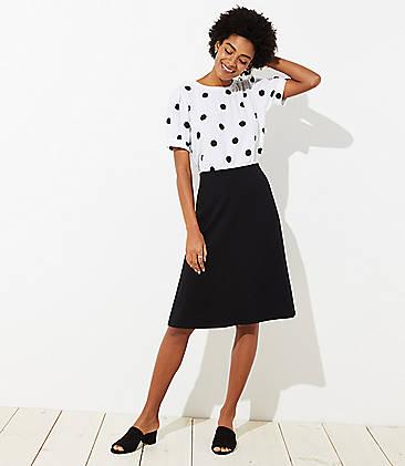 로프트 LOFT Ponte Midi Skirt,Black