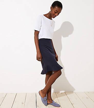 로프트 LOFT Pinstripe Flounce Pencil Skirt,Forever Navy