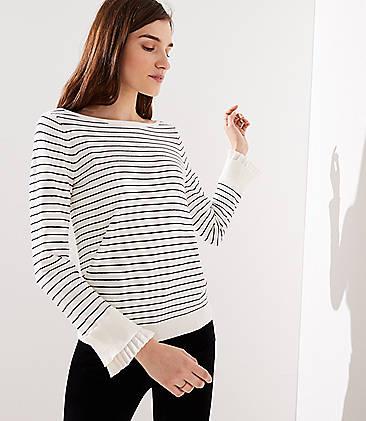 로프트 LOFT Striped Pleated Bell Cuff Sweater,Whisper White