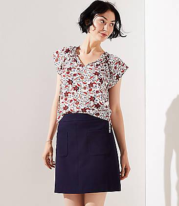 로프트 LOFT Pocket Shift Skirt,Forever Navy