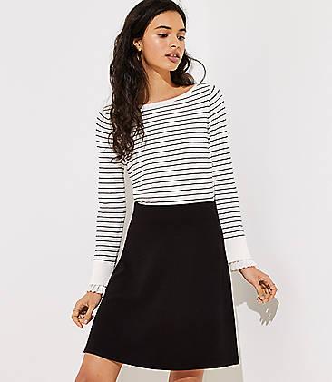 로프트 LOFT Ottoman Knit Flare Skirt,Black