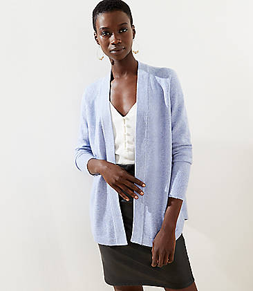 로프트 LOFT Shirttail Open Cardigan,Blue Multi