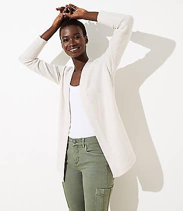 로프트 LOFT Shirttail Open Cardigan,Pale Oatmeal Heather