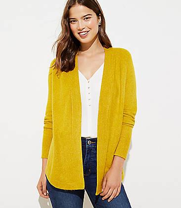 로프트 LOFT Shirttail Open Cardigan,Yellow Multi