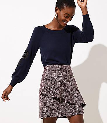 로프트 LOFT Spacedye Ruffle Skirt,Plum Combo