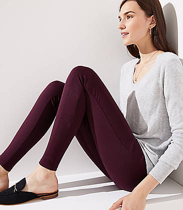 로프트 LOFT Leggings in Heathered Seamed Ponte,Deep Burgundy Heather