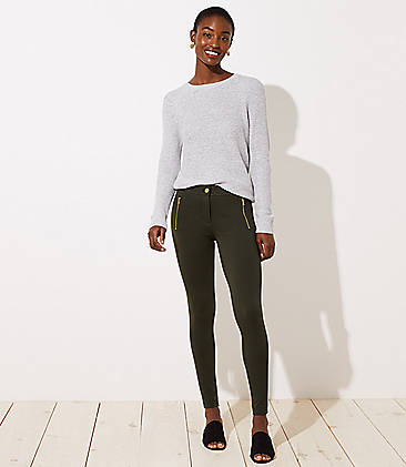 로프트 LOFT Leggings in Zip Pocket Ponte,Dark Caper