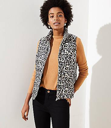 로프트 LOFT Leopard Print Puffer Vest,Black