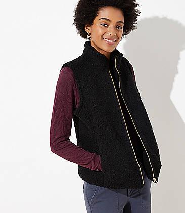 로프트 LOFT Plush Vest,Black