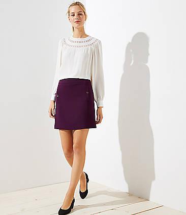 로프트 LOFT Button Pocket Shift Skirt,Bordeaux Grape