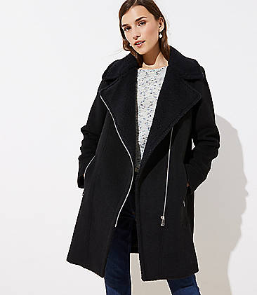 로프트 LOFT Faux Shearling Moto Jacket,Black