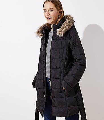 로프트 LOFT Faux Fur Trim Belted Puffer Coat,Black