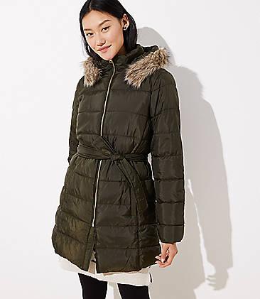 로프트 LOFT Faux Fur Trim Belted Puffer Coat,Olive Leaf