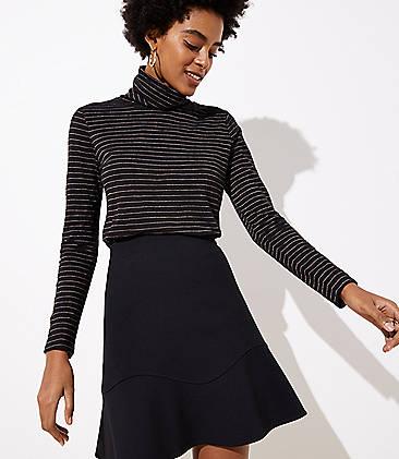 로프트 LOFT Flounce Skirt,Black