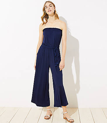 로프트 LOFT Beach Strapless Tie Waist Jumpsuit,Nautical Navy