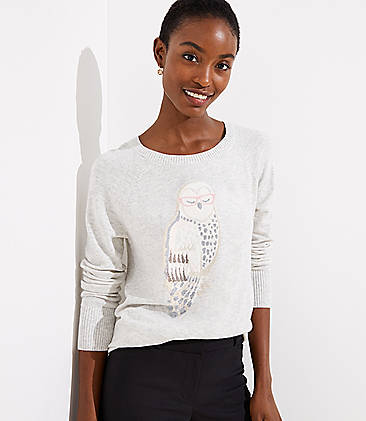 로프트 LOFT Owl Sweater,Heather Morning Fog