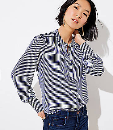로프트 LOFT Striped Crossover Back Utility Blouse,Celestial Sky