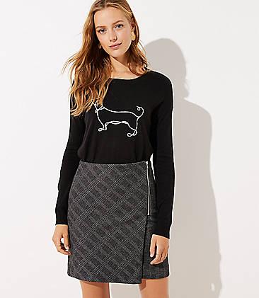 로프트 LOFT Plaid Zip Wrap Skirt,Black
