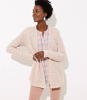 로프트 LOFT Ribbed Open Cardigan,Multi