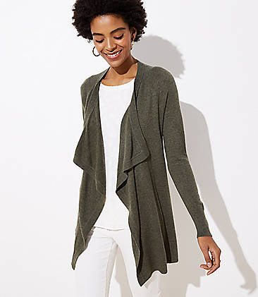 로프트 LOFT Draped Open Cardigan,Cool Olive Heather