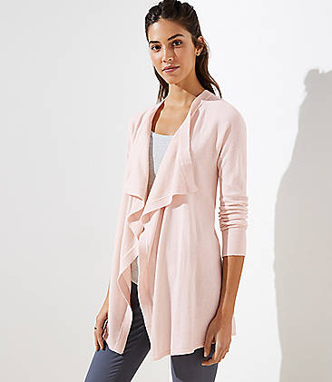 로프트 LOFT Draped Open Cardigan,Light Pink Cloud