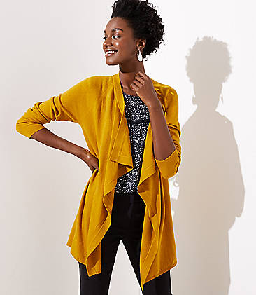 로프트 LOFT Draped Open Cardigan,Golden Glimmer