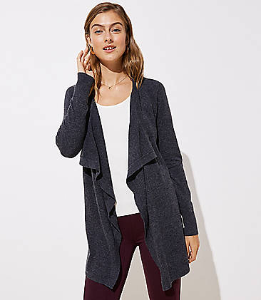 로프트 LOFT Draped Open Cardigan,Dark Charcoal Grey