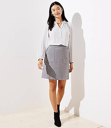 로프트 LOFT Pocket Shift Skirt,Slate heather