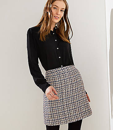 로프트 LOFT Checked Tweed Shift Skirt,Whisper White