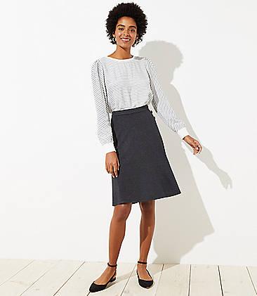 로프트 LOFT Button Trim Midi Skirt,Charcoal Grey Heather
