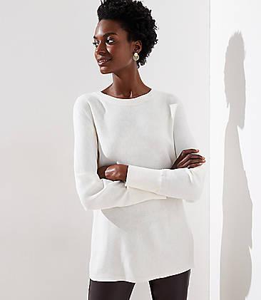 로프트 LOFT Dolman Sweater,Whisper White