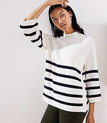 로프트 LOFT Striped Mock Neck Side Button Sweater,Whisper White