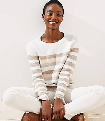 로프트 LOFT Striped Sweater,Oceanside Sand Heather