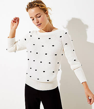 로프트 LOFT Bobble Stitch Sweater,Whisper White