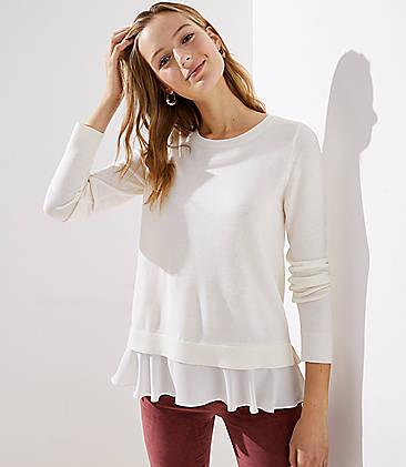 Flounce Mixed Media Sweater