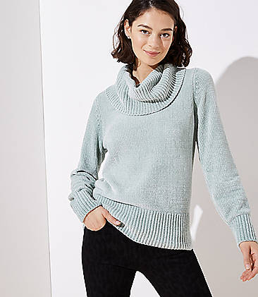 로프트 LOFT Chenille Cowl Neck Sweater,Aqua Grey