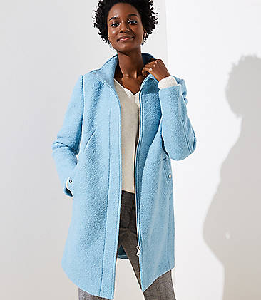 로프트 LOFT Funnel Neck Coat,Thistle Blue