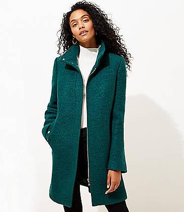 로프트 LOFT Funnel Neck Coat,Deep Spruce Green