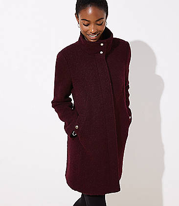 로프트 LOFT Funnel Neck Coat,Deep Cabernet