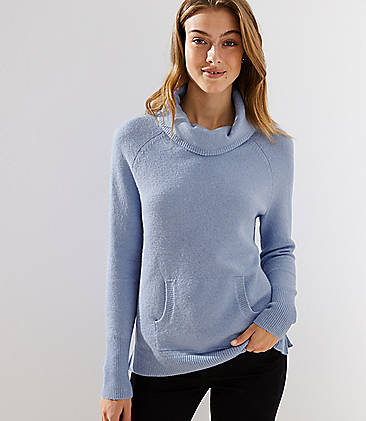 로프트 LOFT Turtleneck Pocket Sweater