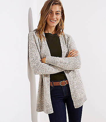 로프트 LOFT Marled Open Cardigan,Grey Multi