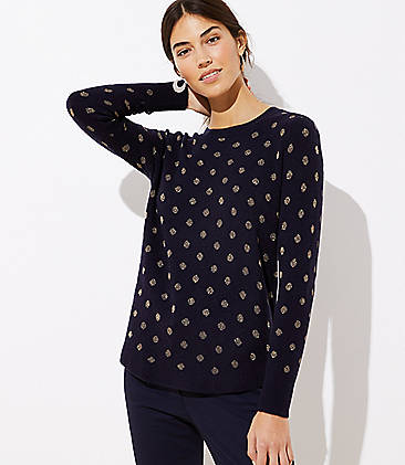 로프트 LOFT Shimmer Dotted Shirttail Sweater,Forever Navy
