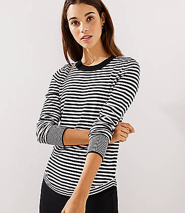 로프트 LOFT Striped Shirttail Sweater,Black